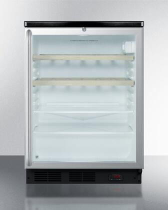 """Summit SCR600BLPUBSHWx 24"""" Wine Cooler with 5.5 cu. ft. Capacity, Commercially Approved, Digital Thermostat, Glass Door, Professional Stainless Steel Handle, Automatic Defrost, Interior Liner, Adjustable Glass Shelves and Door Lock, in Stainless Steel"""
