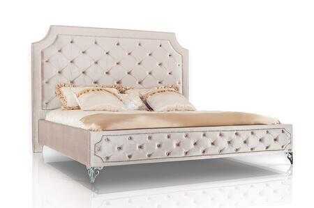 VIG Furniture VGKNLEILAH-BEIGE Modrest Leilah - Transitional Tufted Beige Fabric Bed