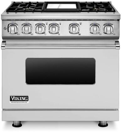 """Viking VDR7364 36"""" Professional 7 Series Dual Fuel Range with 4 Sealed Burners and Griddle, Ceramic Non-Stic Griddle, SureSpark Ignition System and Infrared Broiler, in Apple Red"""