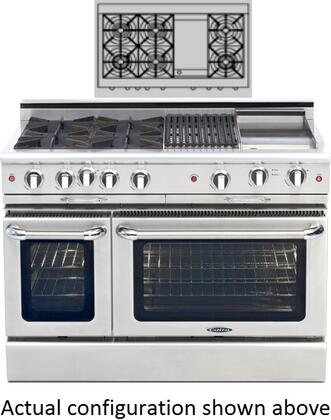 """Capital MCOR484G2L 48"""" Culinarian Series Gas Freestanding Range with Sealed Burner Cooktop, 4.9 cu. ft. Primary Oven Capacity, in Stainless Steel"""