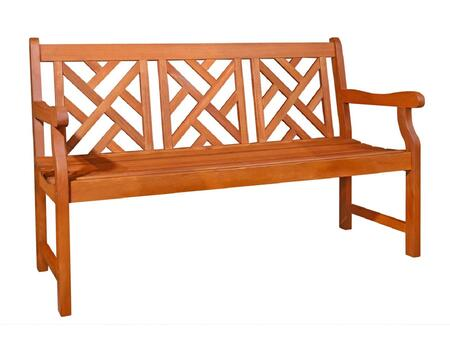 Vifah v188 picnic wood frame armed patio benches for Outdoor furniture 0 finance