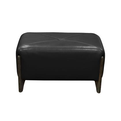 """Diamond Sofa Monaco MONACORO 31"""" Rectangular Bench Accent Ottoman with Blended Leather Upholstery, Ash Wood Trim and Feet in"""