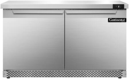 "Continental Refrigerator SWF48F 48"" Worktop Freezer with 13.4 Cu. Ft. Capacity, Front Breathing Compressor, Aluminum Interior, Interior Hanging Thermometer, and Environmentally-Safe Refrigerant, in Stainless Steel"