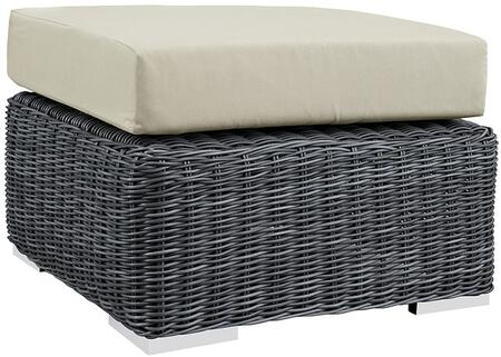 """Modway Summon EEI1869GRY 26"""" Outdoor Patio Sunbrella Ottoman with Stainless Steel Legs, Two-Tone Synthetic Rattan Weave, UV and Water Resistant in Canvas Color"""