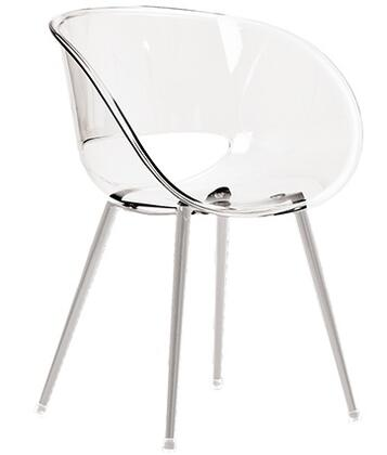ITALMODERN L3684CLR Eye Space Series Modern Not Upholstered Metal and Plastic Frame Dining Room Chair
