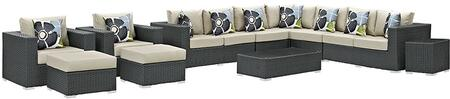 Modway Sojourn Collection 11 PC Patio Sectional Set with 2 Armchairs, 2 Armless Chairs, 2 Ottomans, Corner Chair, Left Arm Loveseat, Right Arm Loveseat, Side Table and Coffee Table in Canvas Color