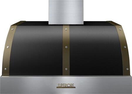 """Tecnogas Superiore HD361BTN 36"""" DECO Series Hood With 1 Blower, Electronic Buttons Control, And Stainless Steel Baffle Filters: Black With"""