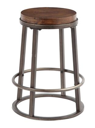 Signature Design by Ashley Glosco D548-3 High Round Bar stool with Wood Growth Ring Seat, Metal Base and Footrest in Medium Brown Finish