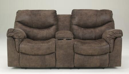 Signature Design by Ashley Alzena 714009X X Double Reclining Loveseat with Storage Console, Cup Holders, Padded Arms and Divided Backs in Gun Smoke