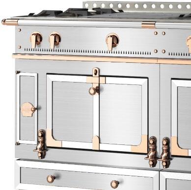 La Cornue Brushed Stainless Trim, Polished Copper