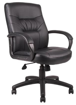 "Boss B75 40"" Mid-Back Executive Chair with Passive Ergonomic Seating, Upright Locking Position, Pneumatic Gas Lift Seat Height Adjustment and Upholstered in Black LeatherPlus"