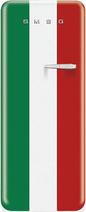 "Smeg FAB28UIT 24"" 50's Retro Style Refrigerator with 9.22 cu. ft. Capacity, Ice Compartment, Interior Lighting, Crisper, Bottle Storage and Adjustable Glass Shelves: Italian Flag Color Design"
