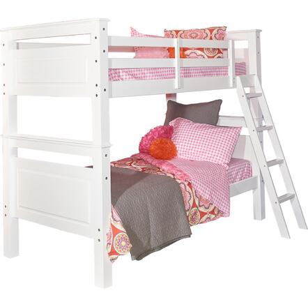 "Powell Beckett Collection D1028Y16 82"" Twin Over Twin Bunk Bed with Built-in Heavy Ladder, Crow Molding and 400 lbs. Limit for Each Bed in"