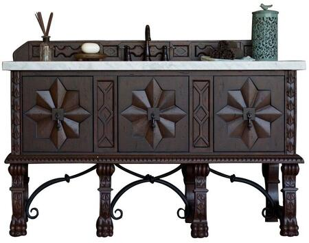 """James Martin Balmoral Collection 150-V60S-ANW- 60"""" Antique Walnut Single Vanity with Hand Carved Details, Iron Scrollwork, Three Soft Closing Doors and"""