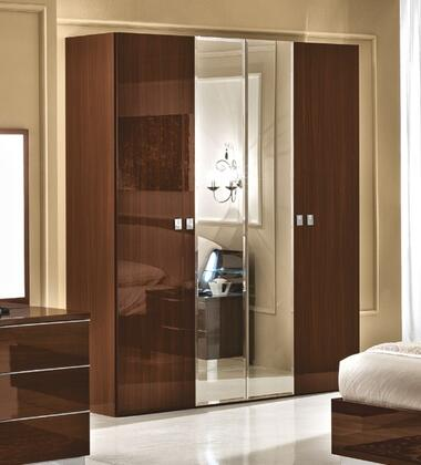 """ESF Onda Collection 73"""" Wardrobe with 2 Wood Doors, 2 Mirror Doors and Made in Italy in"""