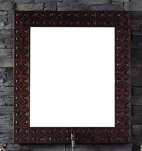 "James Martin Balmoral Collection 150-MXX-ANW XX"" x 42"" Mirror with Hand Carved Details and Beveled Glass in Antique Walnut"