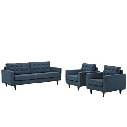 Modway EEI-1314 Empress Two Piece Set with Sofa + Two Armchairs, Modern Design, Solid Wooden Legs, Glides, Deeply Tufted Buttons and Fine Fabric Upholstery