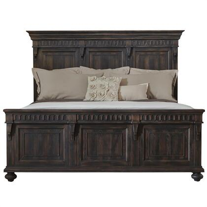 Pulaski 2101 Kentshire Platform Bed with Corbels, Bold-On Bedrail System, Turned Legs, Crown and Molding Detail Top in Black
