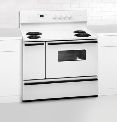 """Frigidaire FFEF4005LW 40"""" Electric Freestanding Range with Coil Element Cooktop, 3.7 cu. ft. Primary Oven Capacity, Storage in White"""