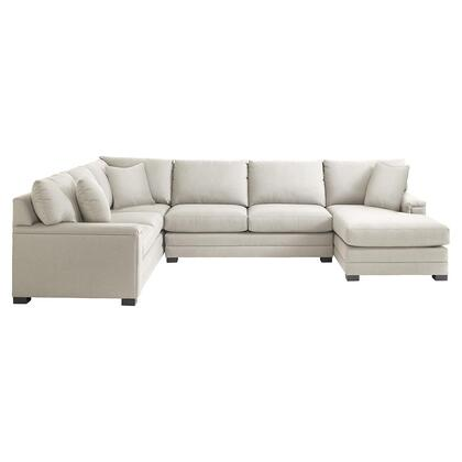 Bassett Furniture Hancock Collection 3935-URSECTFC/FC163-X U-Shaped Sectional Sofa with Right Arm Facing Chaise Position, Fabric Upholstery, Top Stitching, Pad Arms, Dramatic Base Border and Woodlegs with Walnut Finish in