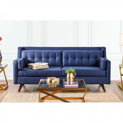 "Furniture of America Hallie Collection SM882X-SF 87"" Sofa with Linen-like Fabric, Sloped Track Arms and Button Tufting in"