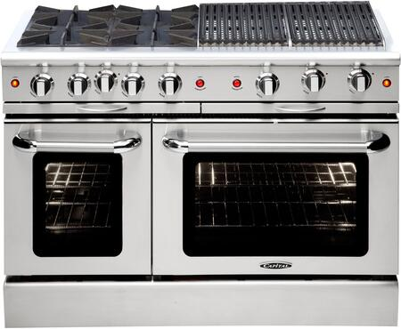 "Capital MCOR484BBL 48"" Culinarian Series Gas Freestanding Range with Sealed Burner Cooktop, 4.9 cu. ft. Primary Oven Capacity, in Stainless Steel"