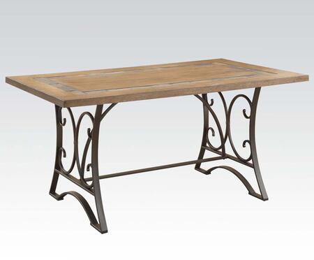 Acme Furniture Kiele Collection Dining Table with Slate Top Insert, Scrollwork, Metal Frame, Ash Veneer Material and Medium-Density Fiberboard (MDF) in Oak and Antique Black Finish