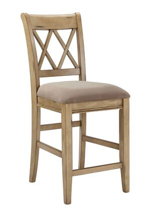 Signature Design by Ashley Mestler D540-2XX High Barstool with Fabric Seat Cushion, Tapered Legs and X-Shapes on Chair Back in Antique White Finish