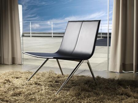 Modloft PTN094ASC8 Mayfair Series Leather Lounge with Metal Frame in Black