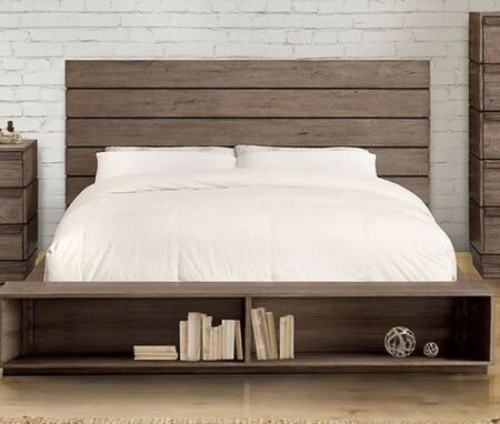 Furniture of America Coimbra CM7623BCX with Rustic Style, Low Profile Bed with Plank Panel Headboard, Bookcase Footboardin Rustic Natural Tone