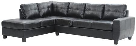 "Glory Furniture 112"" Sectional Sofa with Removable Backs, Track Arms, Tapered Legs, Tufted Cushions and PU Leather Upholstery in"