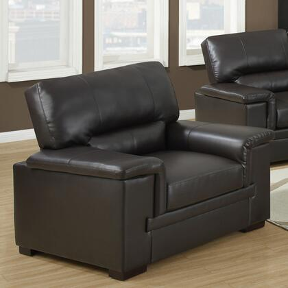 Monarch I8811BR Armchair Leather Wood Frame Accent Chair