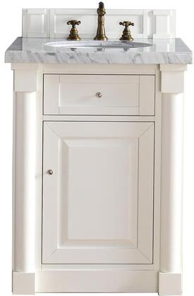 "James Martin New Haven Collection 770-V26-CWH- 26"" Cottage White Single Vanity with One Drawer, One Door, Satin Nickel Hardware and"