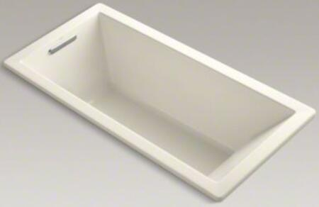 "Kohler Underscore K-1821-X 66"" x 32"" Rectangular Drop In Soaking Bath Tub With Reversible Drain, Molded Lumbar Support, Slotted Overflow, Acrylic Material, In"
