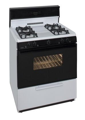 "Premier SMK340W 30"" Gas Freestanding Range with Sealed Burner Cooktop, 3.9 cu. ft. Primary Oven Capacity, Broiler in White"