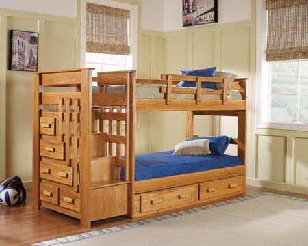 Chelsea Home Furniture 36500 Twin Over Twin Stairway Bed with Solid Plantation-Grown Pine and Hand Stained in Honey Finish
