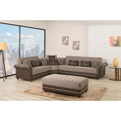 Casamode ROHOSEC Convertible Sectional Sofa Bed Nail Head Accents, Turned Feet, Sliders and Rolled Arms in