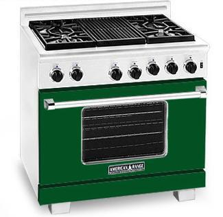 American Range ARR364GRFG Heritage Classic Series Natural Gas Freestanding Range with Sealed Burner Cooktop, 5.6 cu. ft. Primary Oven Capacity, in Green