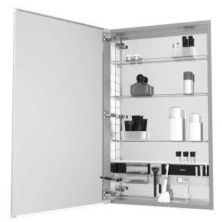 "Robern 20"" x 30"" x 4"" Flat Plain Single Door Medicine Cabinet with Left Hinge, Integrated Outlets, Interior Light, Mirror Defogger and Nightlight"