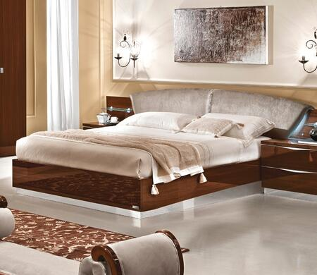 ESF Onda Collection Bed with Stain Repellant Teflon Technology, Crystal Strip, Made in Italy and Nabuk Eco-Leather Upholstered Headboard in Walnut Finish