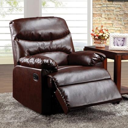 """Acme Furniture Arcadia 38"""" Glider Recliner with Overstuffed Pillow Top Arms, Split Back Cushion, Solid Wood Construction and Bonded Leather Upholstery in Color"""