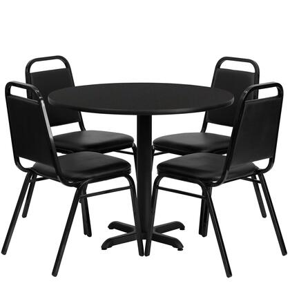 "Flash Furniture HDBF10XX-GG 36"" Round Laminate Table Set with 4 Black Trapezoidal Back Banquet/Restaurant Chairs, Designed for Commercial Use, and Heavy Duty Construction"