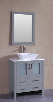 """Bosconi AGR130SX XX"""" Single Vanity with Phoenix Stone Top, Flared Square White Ceramic Vessel Sink, F-S02 Faucet, Mirror, 2 Doors and X Drawers in Grey"""