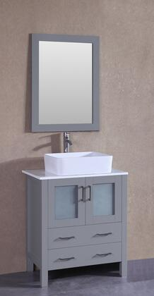 """Bosconi AGR130RCX XX"""" Single Vanity with Phoenix Stone Top, Rectangle White Ceramic Vessel Sink, F-S02 Faucet, Mirror, 2 Doors and X Drawers in Grey"""