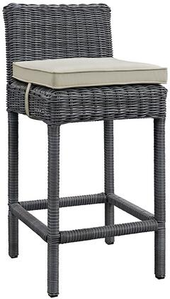 "Modway Summon Collection EEI-1960-GRY- 21"" Outdoor Patio Sunbrella Bar Stool with All-Weather Fabric Cushion, Synthetic Rattan Weave Material, Aluminum Frame, UV and Water Resistant in"