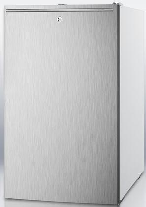 "Summit CM411LBISSHX 20"" Medically Approved & ADA Compliant Compact Refrigerator with 4.1 cu. ft. Capacity, Professional Horizontal Handle, Interior Light and Crisper Drawer, in Stainless Steel"