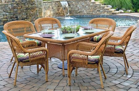"Tortuga PSD66- 7 Piece Dining Set w/ 6 Chairs and 66"" Dining Table in"