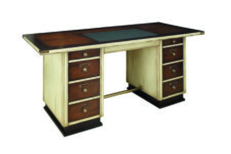 """Authentic Models MF01X Captain's Desk 29.5"""" with Cherry & MDF w/ Cherry Veneer, Maple,  Pine Material and Honey Distressed French Finish"""