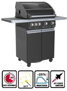Sole SO4G 4 Burner Gas Grill with 66,000 Total BTU's, Jet Flame Ignition, 10,000 BTU Rotisserie Rear Burner, 500 sq. in. Cooking Surface and 200 sq. in. Enamel Warming Rack,