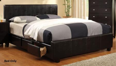Furniture of America Burlington CM7009X Bed  with Contemporary Style, Padded Leatherette Platform Bed, 6 Drawers in Rails  and Solid Wood Others in Espresso Finish
